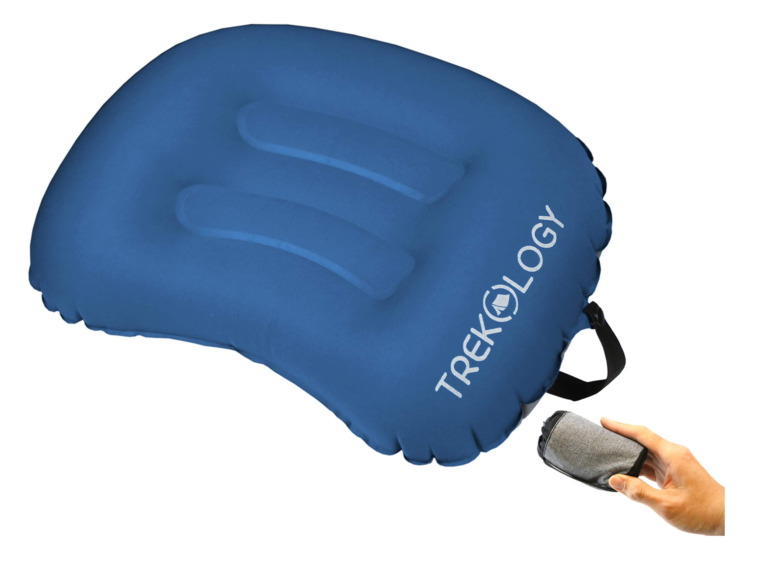 Trekology Ultralight Inflating Travel/Camping Pillows - Compressible, Compact, Inflatable, Comfortable, Ergonomic Pillow for Neck & Lumbar Support (Navy Blue with Latch Strap)