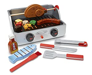 Melissa & Doug Rotisserie and Grill Wooden Barbecue Play Food Set (24 pcs)