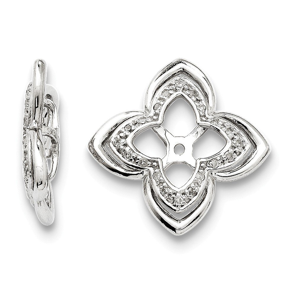 Sterling Silver Rhodium Diamond Earring Jacket