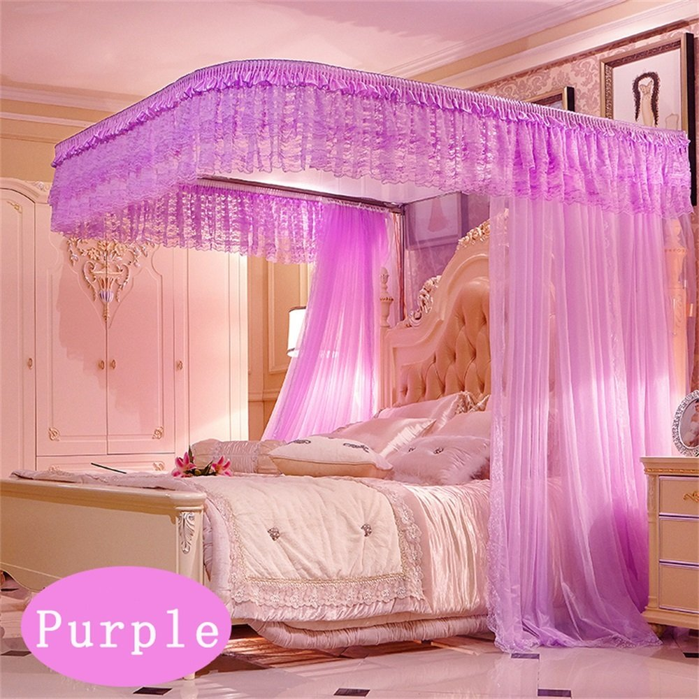 Royal- U-shaped Pull Rope Rails Fishing Rods Telescopic Mosquito Net Three-door Single Double Encryption Thickening Stainless Steel Bracket ( Color : Purple , Size : 1.5m (5 Feet) Bed )