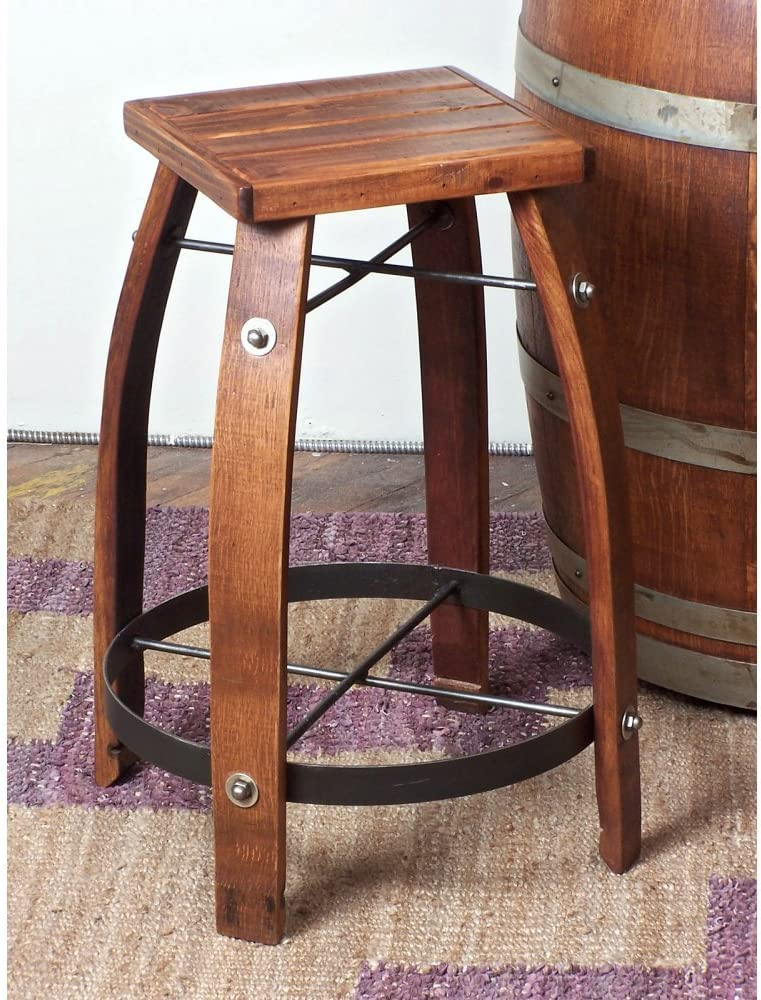 2-Day Designs Reclaimed 24-Inch Stave Wine Barrel Counter Stool with Wood Seat