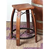 2 Day Designs Reclaimed 24-Inch Stave Wine Barrel Counter Stool with Wood Seat