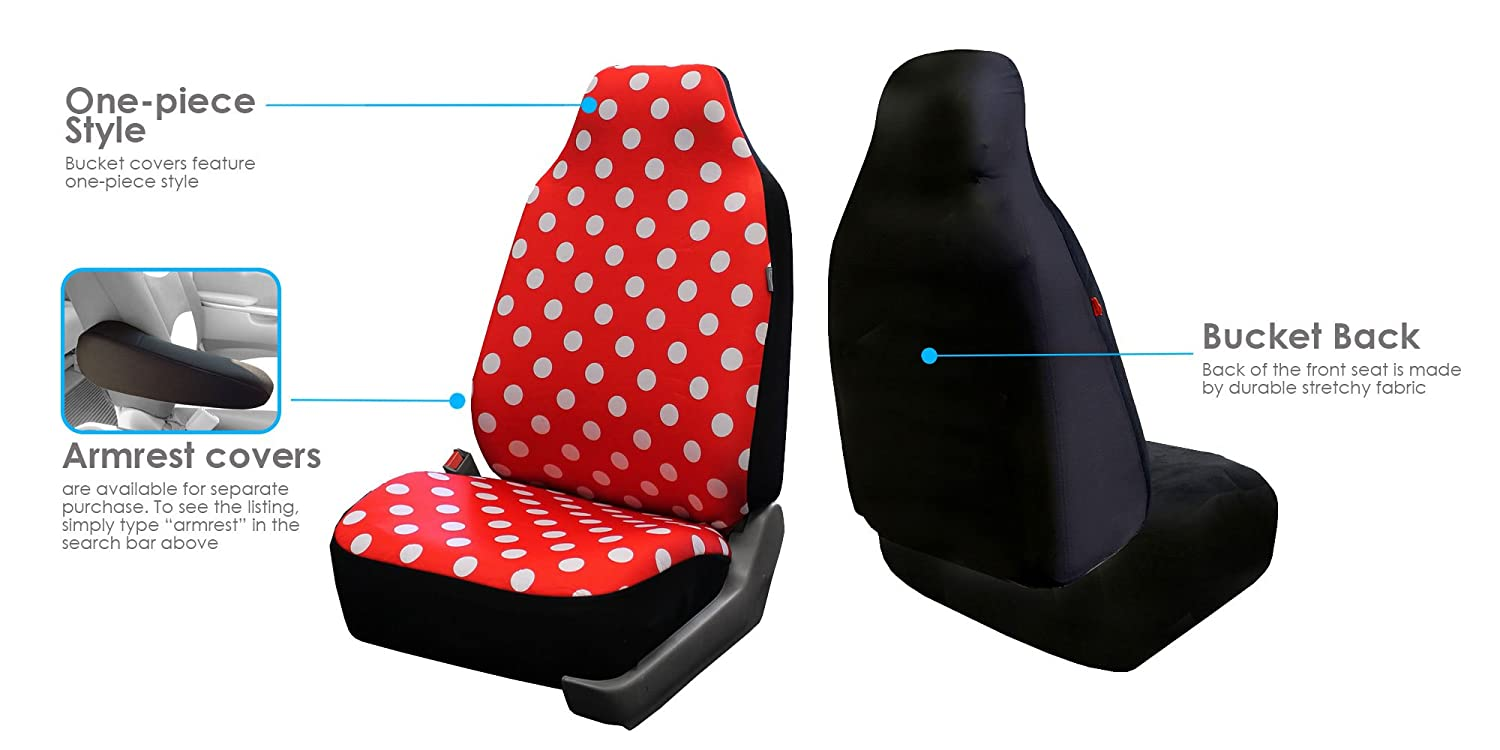 Amazon FH GROUP FB115102 Full Set Polka Dots Car Pair Bucket Seat Covers For Van And SUV Red Color Automotive