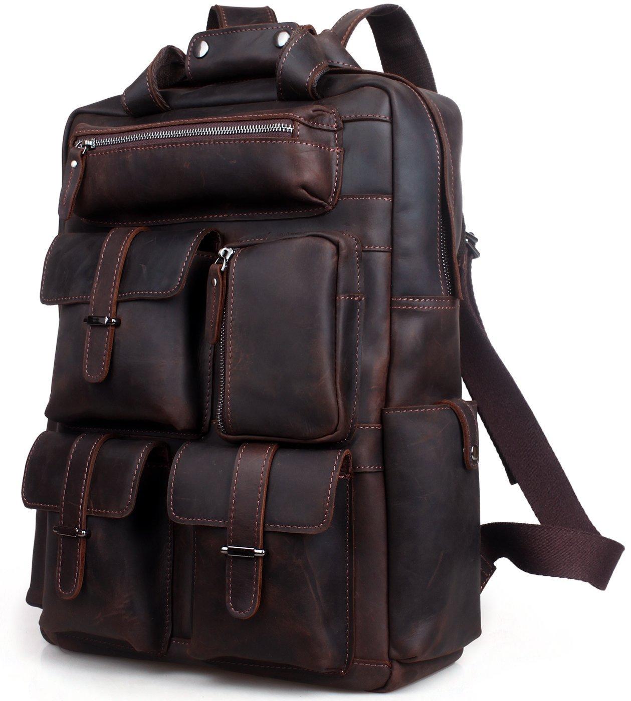 Iswee Vintage Leather Backpack Multi Pockets 17' Laptop Case Daypack Travel Sports Bag For Men (Dark Brown)