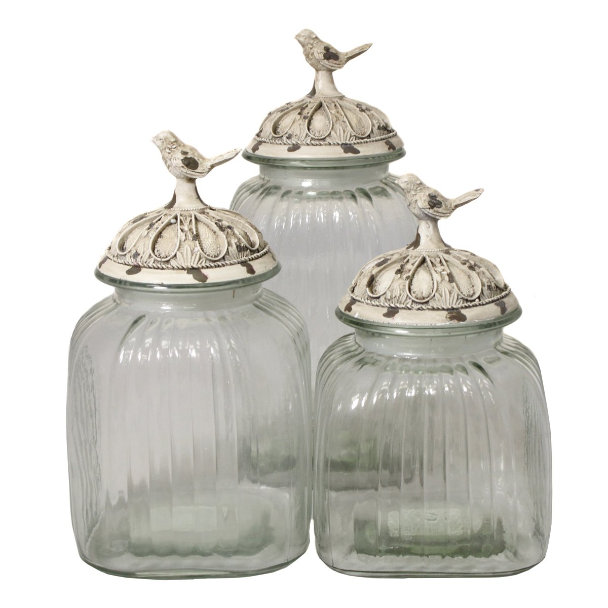 Amazon.com: Urban Designs Antique White Songbird 3-Piece Glass ...