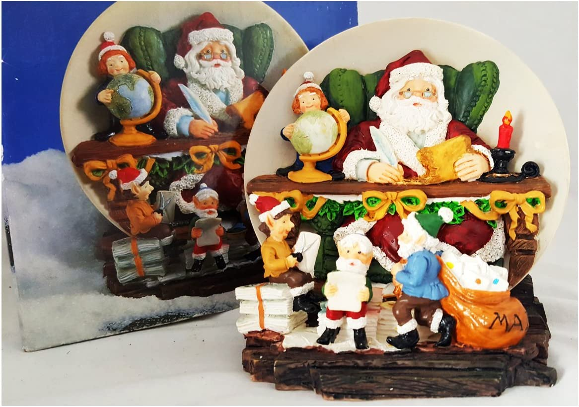 Vintage 1997 A Christmas Remembered Collectors Edition 3d Santa Elves Plate Item No 18018 Home Kitchen