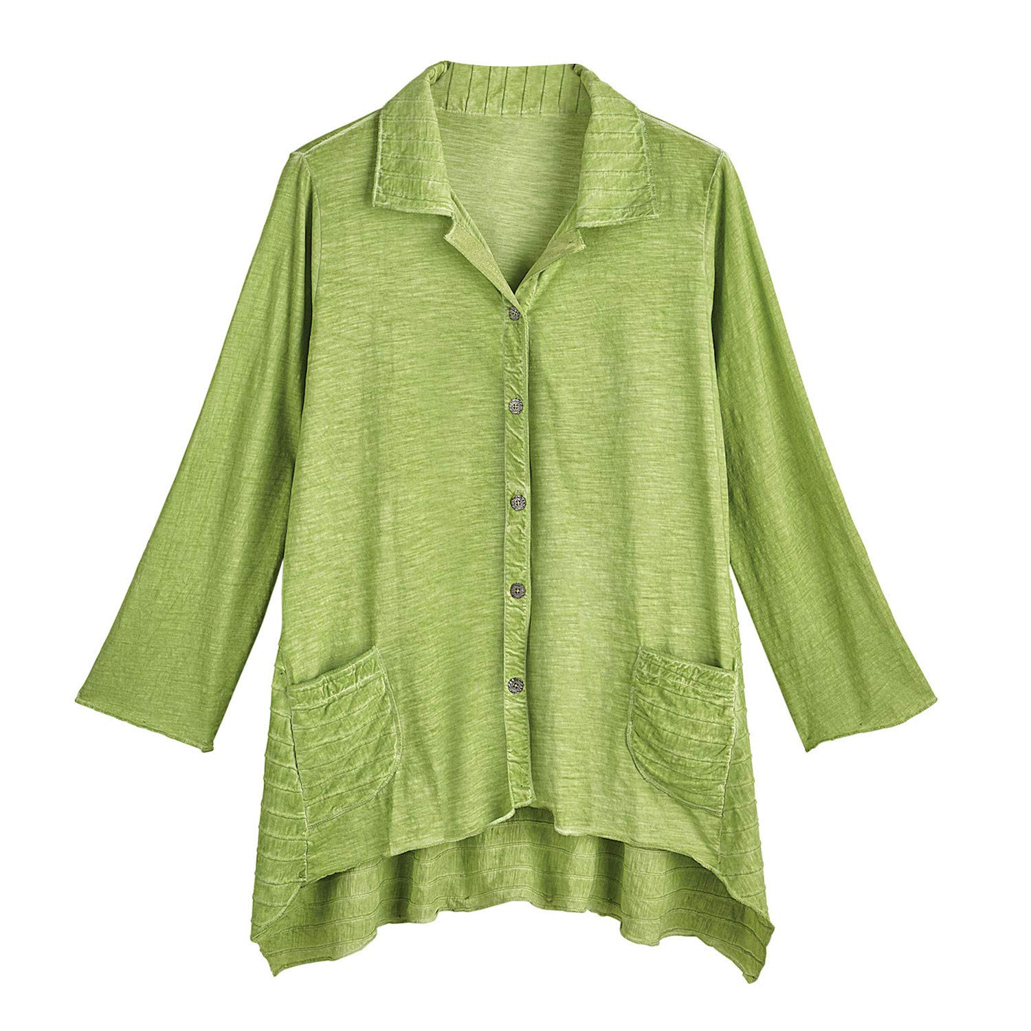 Parsley /& Sage Womens Pin Tucks Tunic Top Green Button Front Collared Shirt