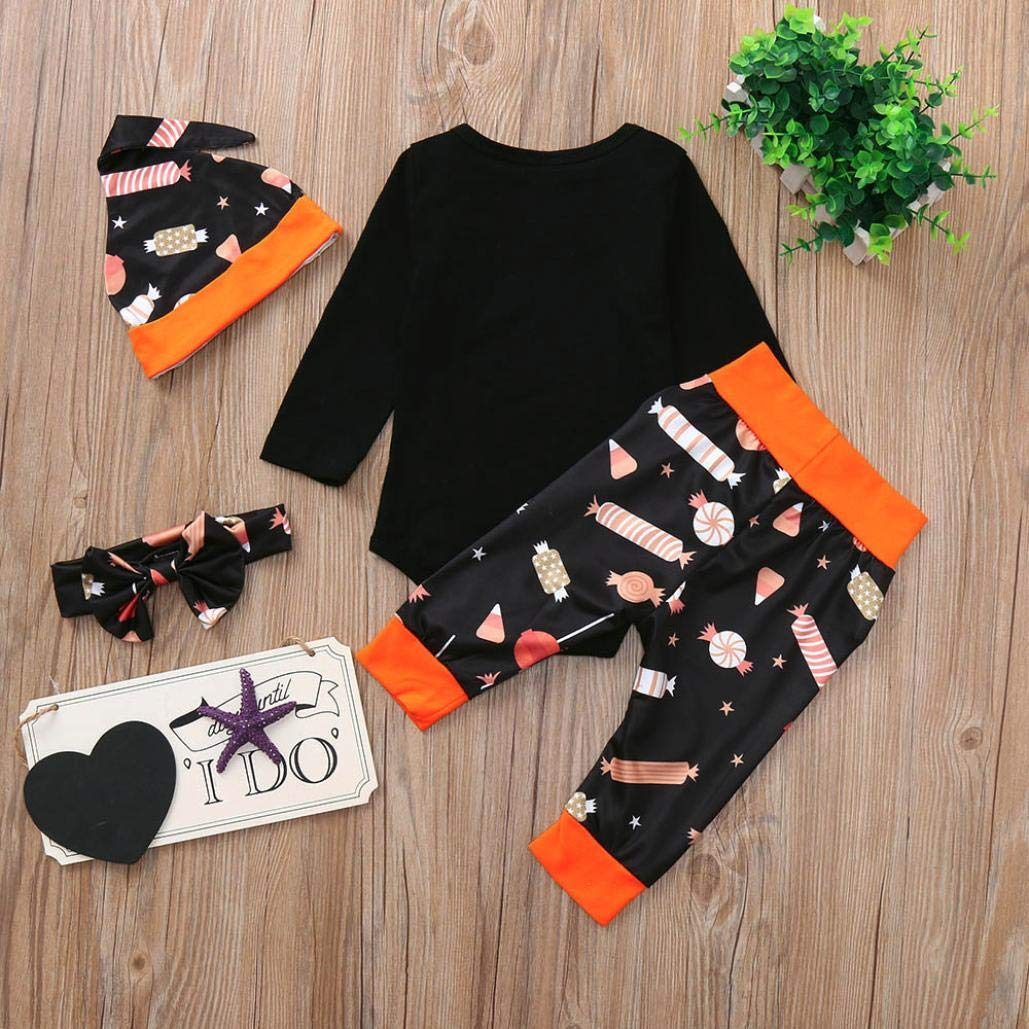 WARMSHOP Baby Boy Girl Trick Or Treat Letter Cotton Romper Tops Candy Print Pants for Halloween 4PC Clothes Sets