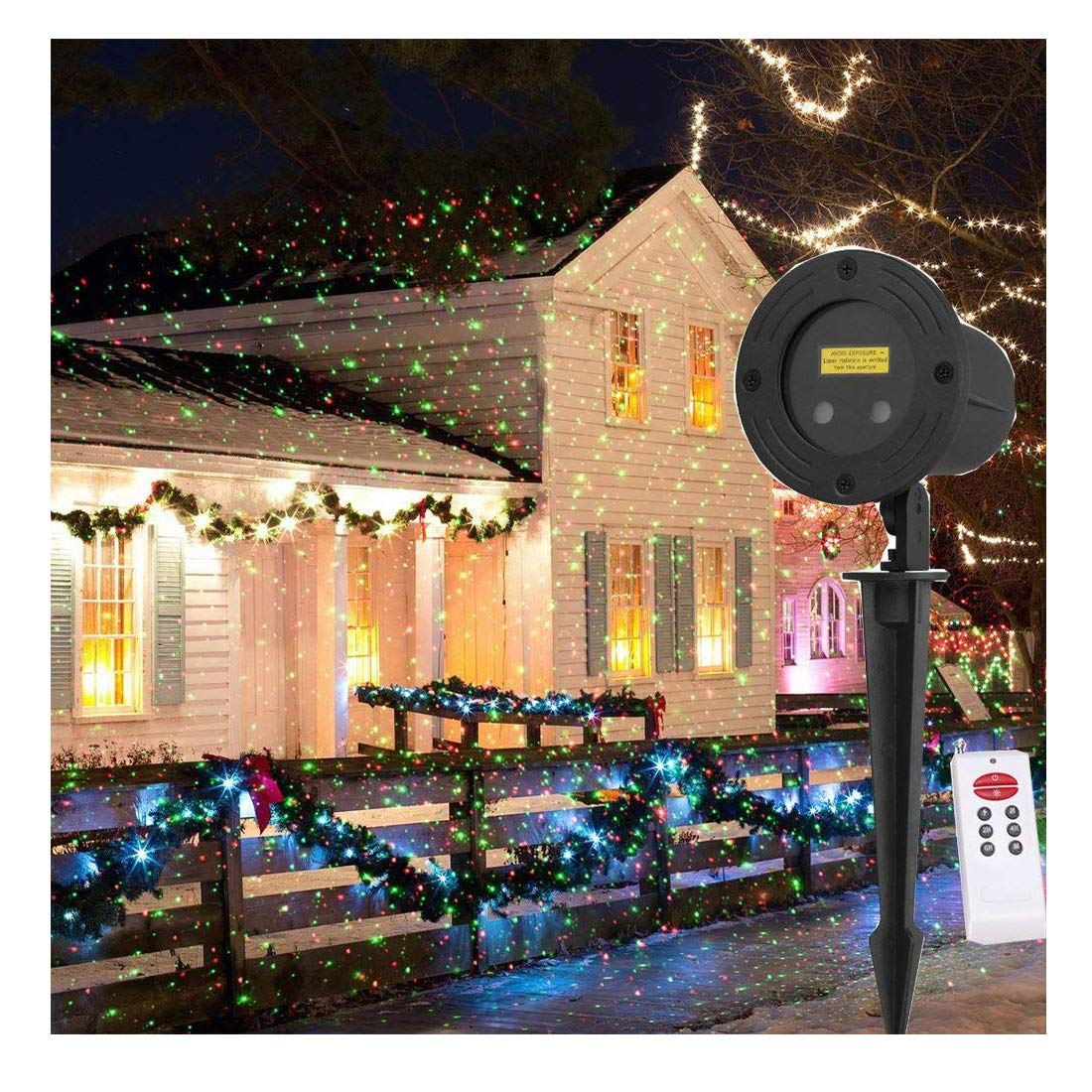 3 Colors Moving/Static Firefly Outdoor Party Lights Garden Light Projector LED Red Green and Blue Firefly Projector Lights (Moving/Static Firefly Red+Green+Blue) LSIKA-Z