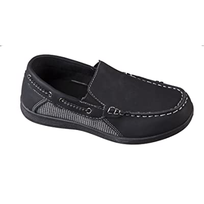 Boys Black Square Toe Slip on Loafer Style Dress Shoe with White Stitching