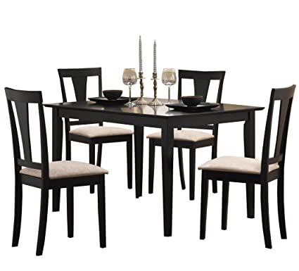 Superb Coaster 5pc Casual Dining Table And Chairs Set In Black Finish