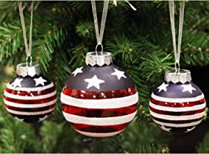Sleetly Shatterproof Patriotic Christmas Ornaments, American Flag, Set of 16