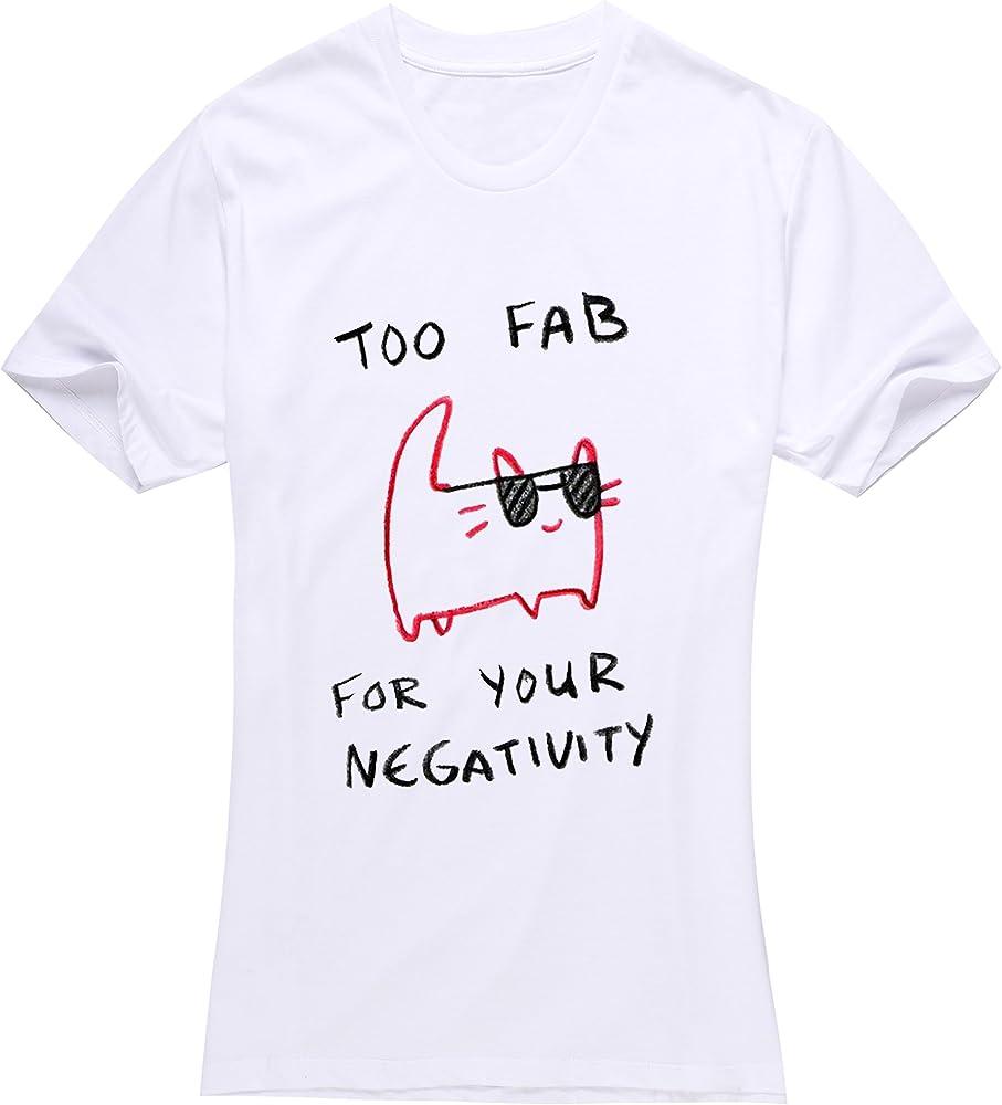 Las mujeres de color blanco de manga corta, también Fab para su negatividad T-Shirt fshan: Amazon.es: Ropa y accesorios