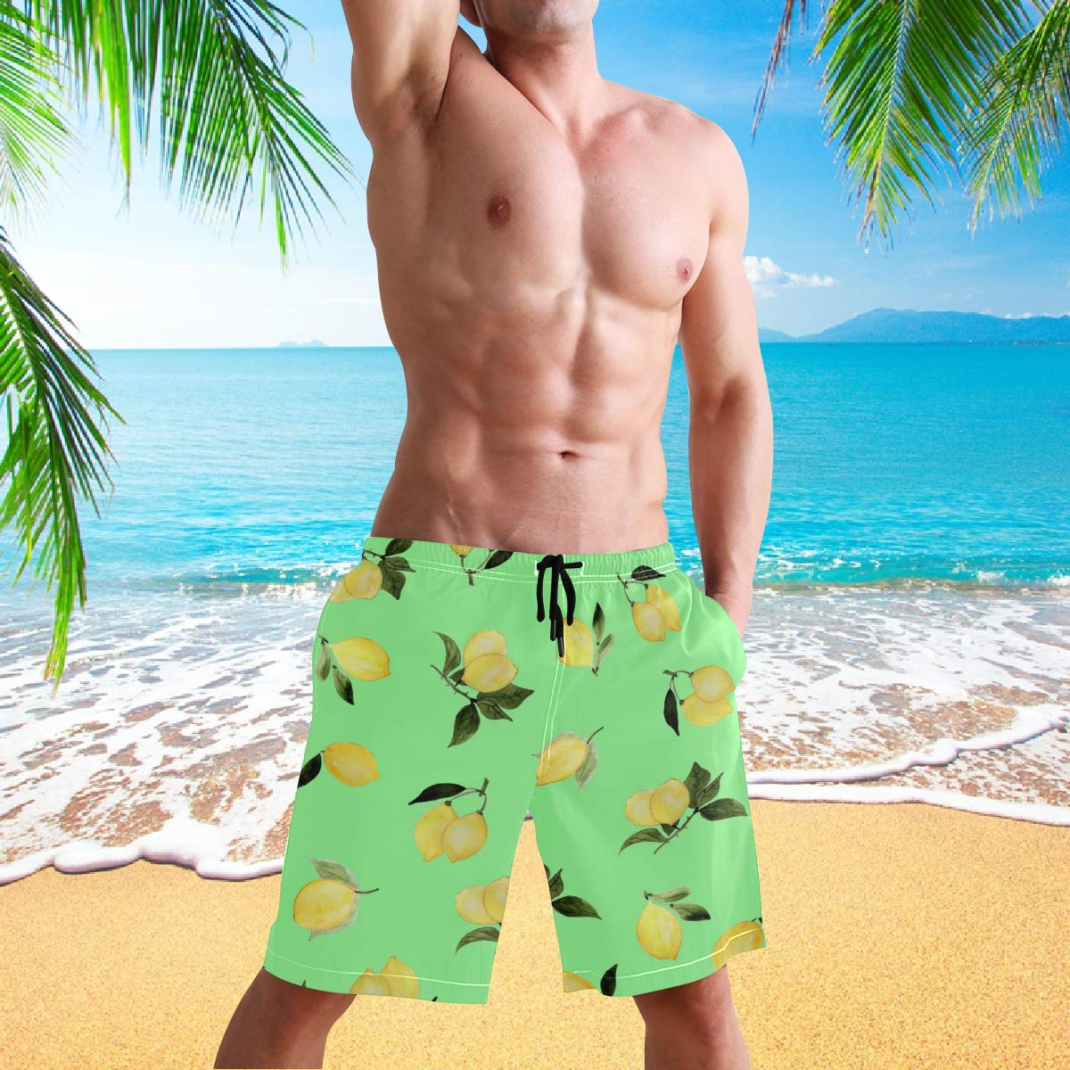 visesunny Yellow Lemon Green Pattern Summer Mens Swim Trunks Quick Dry Bathing Suits Beach Holiday Party Board Shorts