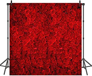 COMOPHOTO Red Rose Wedding Photo Background 8x8ft Vinyl Valentine's Day Floral Wall Birthday Party Banner Decoration Photography Backdrops Supplies