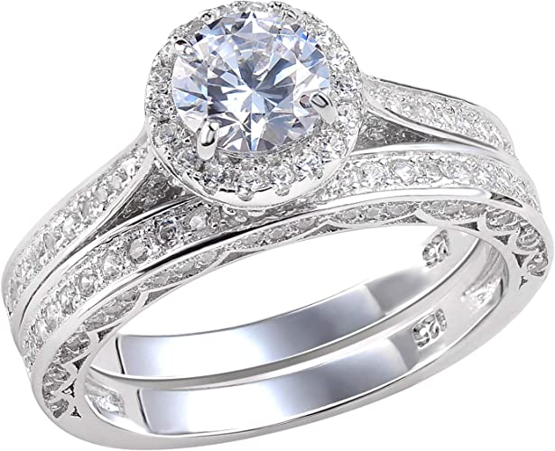 Amazon Com Newshe Wedding Rings For Women Engagement Ring Set 925