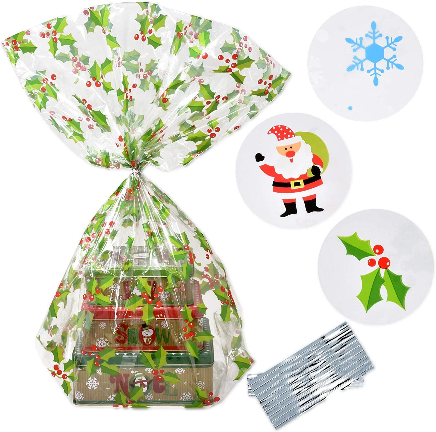 Gift Boutique Plastic Jumbo Christmas Cello Basket Bags, Christmas Cookie Tray Bags Pack of 12 Holiday Goody Party Favor Wrapping Bags 22