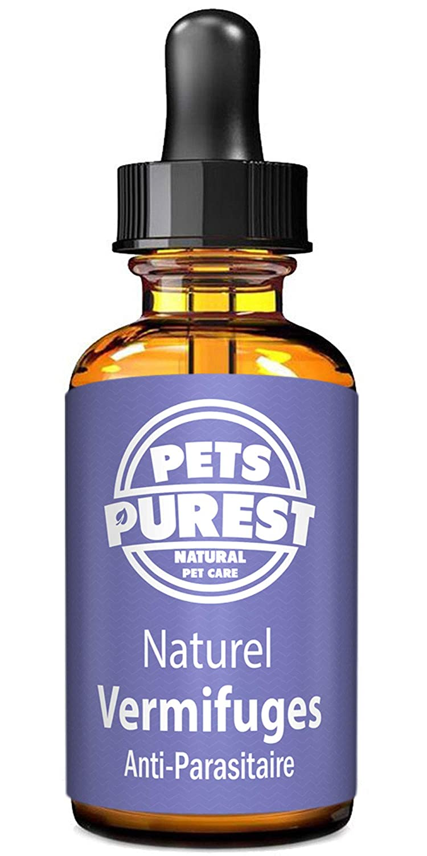 Pets Purest Vermifuges anti-parasitaire 100% naturel pour les chiens, les chats, la volaille, les oiseaux, les lapins et les animaux domestiques. Enlève efficacement tous les vers, ascaris, ankylostome, trichocéphale et ténia. 1-2 ans d'approvisionnement
