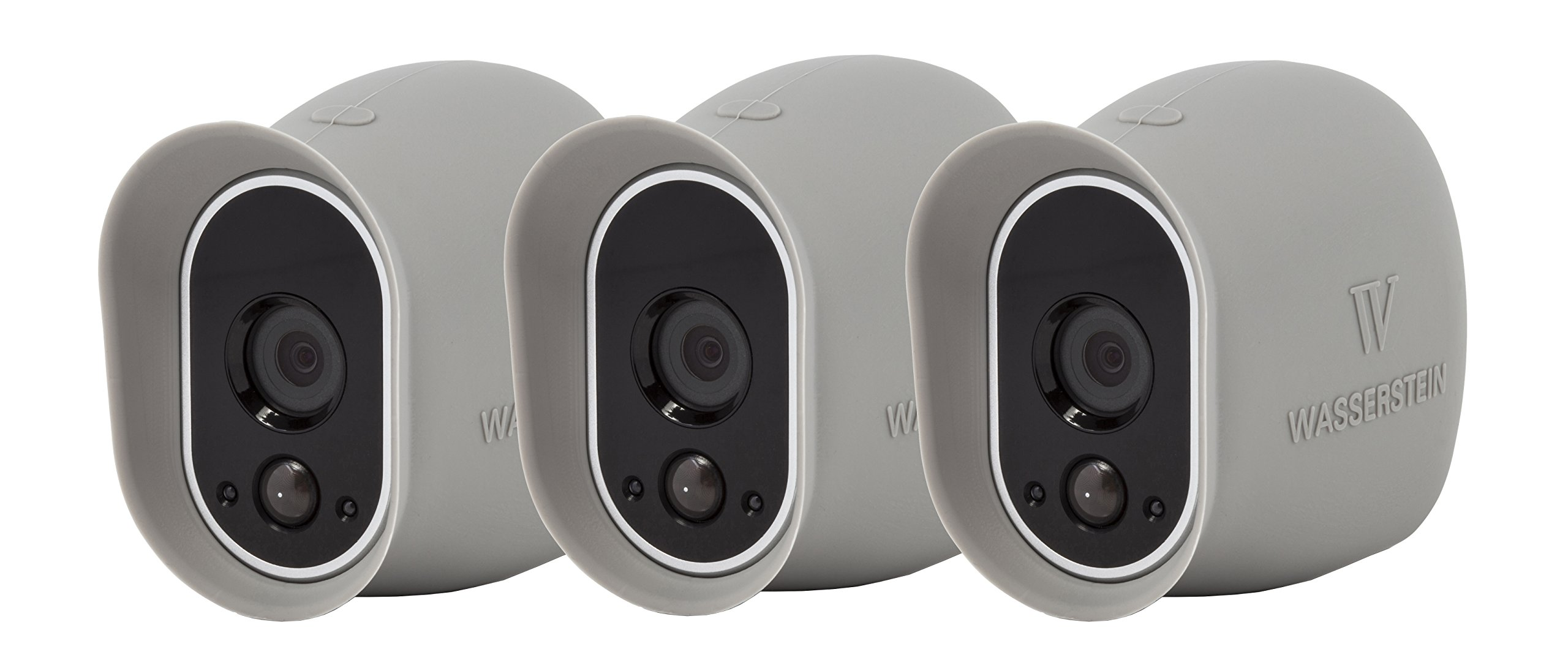 3 x Silicone Skins Compatible With Arlo Smart Security - 100% Wire-Free Cameras — by Wasserstein (Grey)