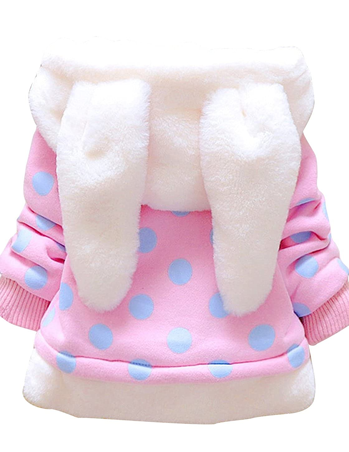 Garsumiss Baby Girl Jacket Thick Winter Hoodie Rabbit Bunny Coat Toddler Outerwear