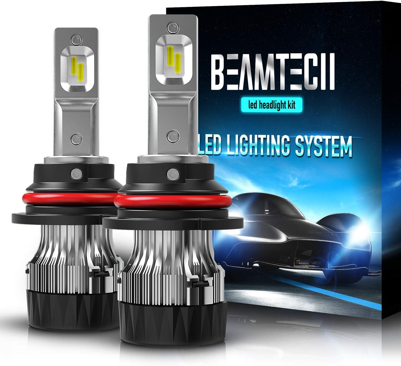 BEAMTECH 9007 LED Headlight Bulb,30mm Heatsink Base CSP Chips 10000 Lumens Hi/Lo 6500K Xenon White Extremely Super Bright Conversion Kit of 2