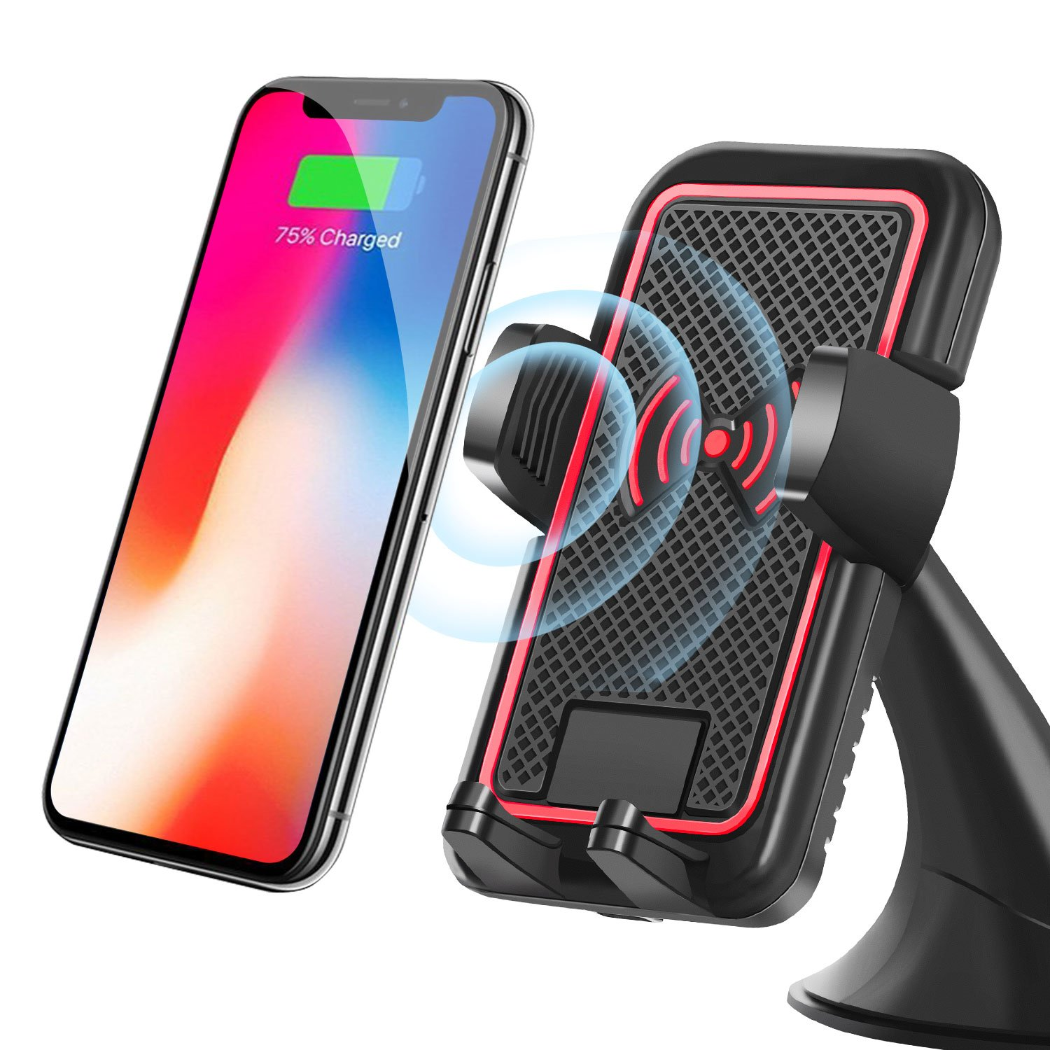 2-in-1 Wireless Car Charger, ARW Car Mount Phone Holder for iPhone X 8 Plus 7 6s SE Samsung Galaxy S9 S8 Edge S7 S6 Note 8 & Other Smartphone