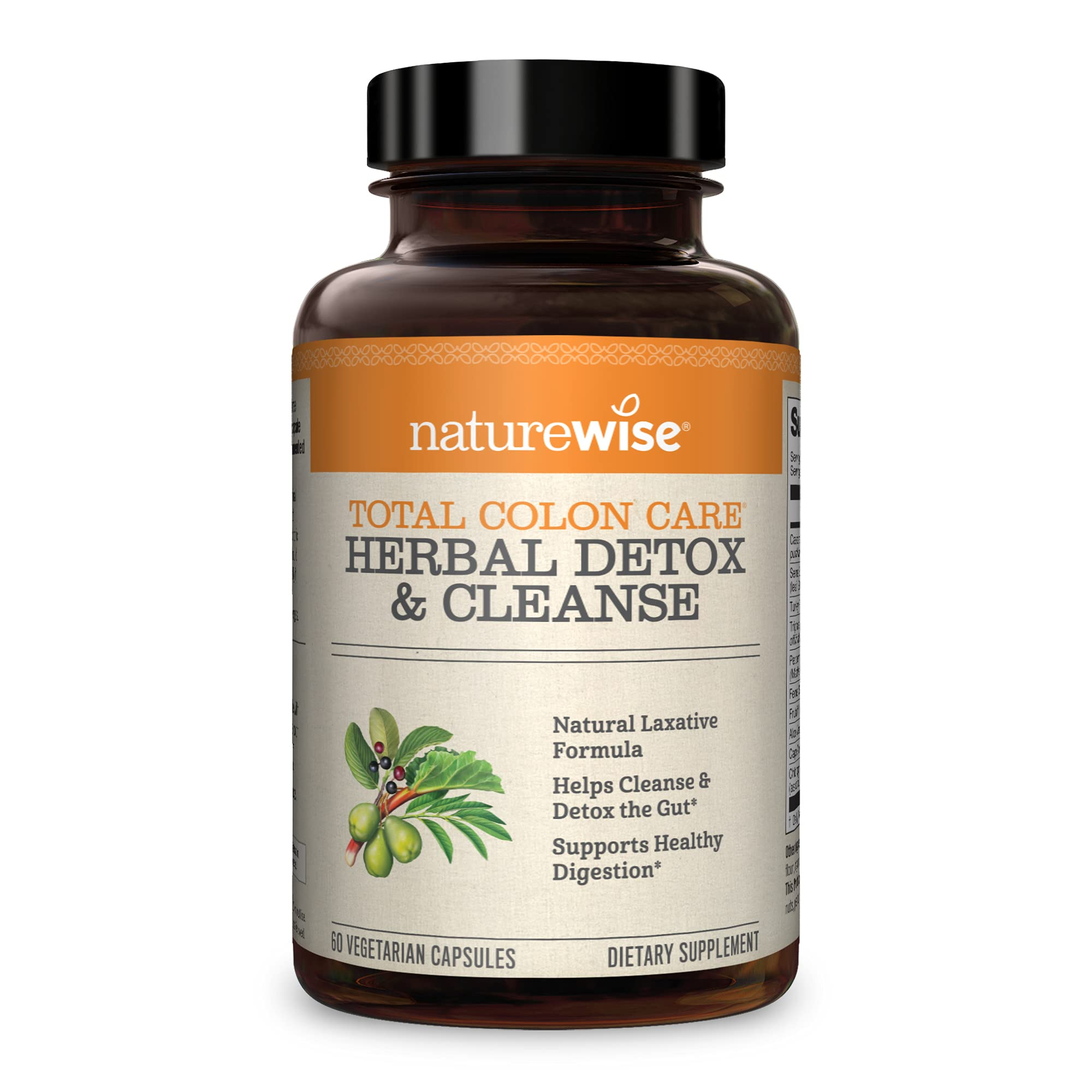 NatureWise Herbal Detox Cleanse Laxative Supplements | Natural Colon Cleanser Herb & Fiber Blend for Constipation Relief, Toxin Rid, Gut Health, & Weight Loss Support [1 Month Supply - 60 Capsules]