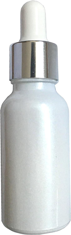 Angelite Botellas de Vidrio con Cierre de Seguridad para niños (20ml Brillo Blanco con Tapa de Plata - 10 Piezas): Amazon.es: Hogar