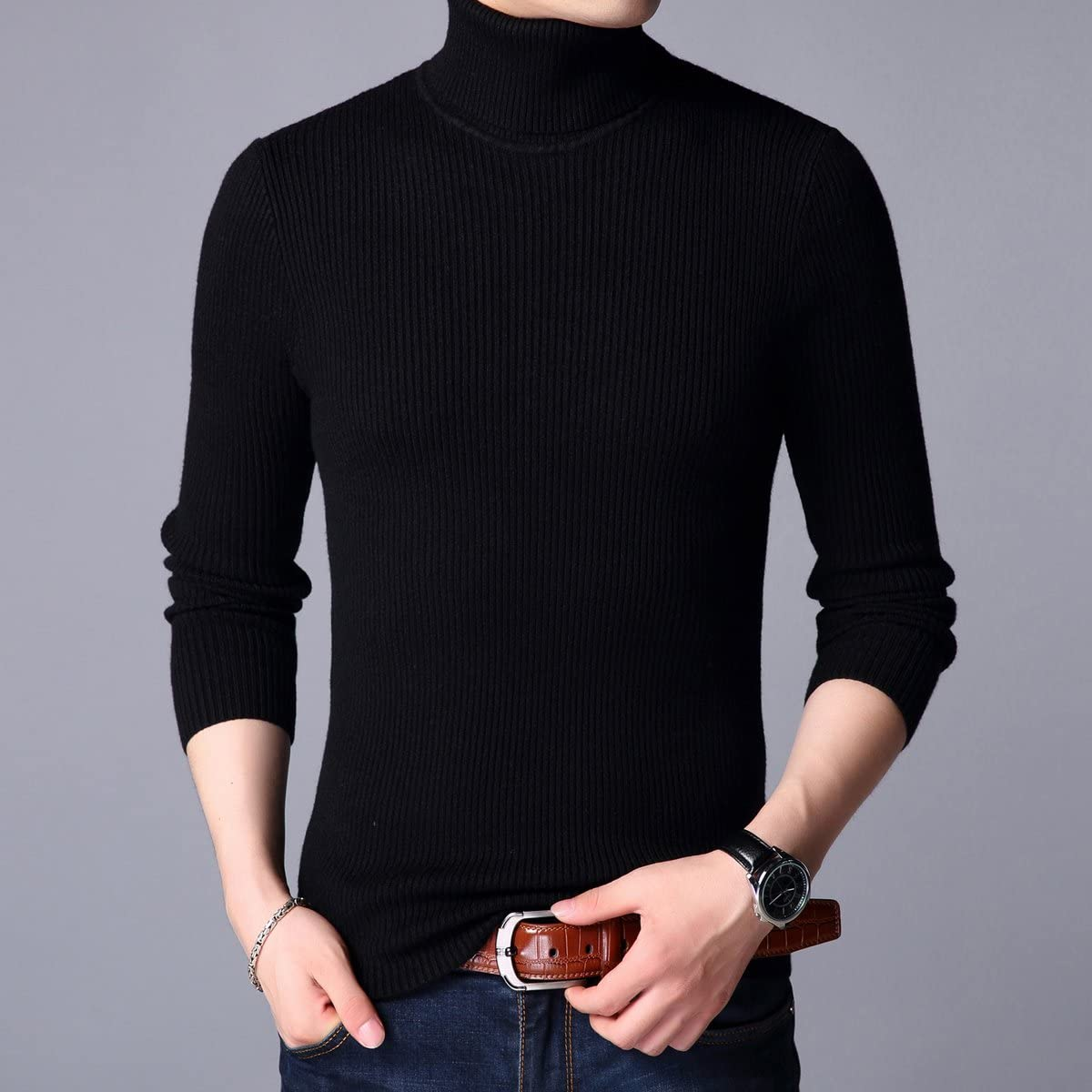 Jiuhila Mens Casual Wool Cashmere Knitted Sweater Long Sleeve Turtleneck Pullover Tops