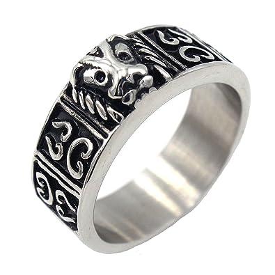 Amazon.com: lilileo joyas 9 mm. acero inoxidable anillos de ...