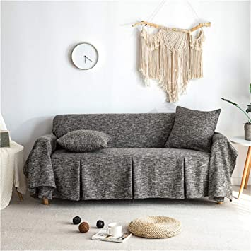 CoutureBridal Seater Sofa Covers Sofa Slipcovers Protector Linen Leather  Couch Covers with One Free Cushion Case Black 78x141