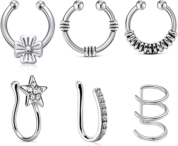 LAURITAMI Clip de Oreja Puño de Oreja Septum Pack Piercing Falso Aro Acero Inoxidable Clip on Sin Perforación CZ Pendientes: Amazon.es: Joyería