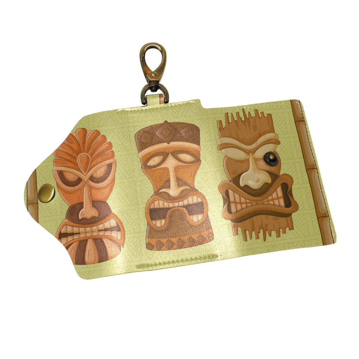 KEAKIA Hawaiian Tiki Tribal Mask Leather Key Case Wallets Tri-fold Key Holder Keychains with 6 Hooks 2 Slot Snap Closure for Men Women