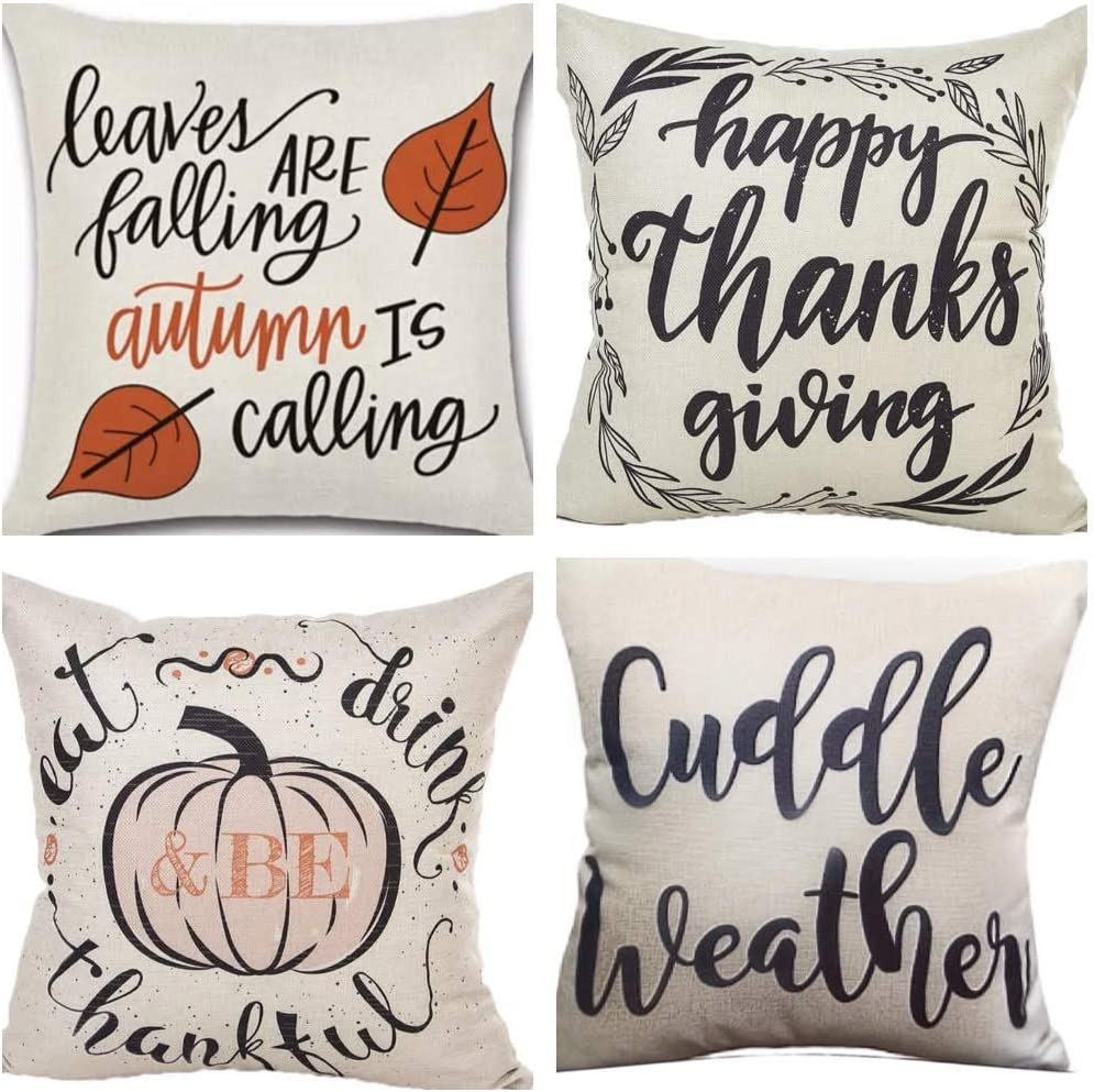 Sugar & Suede Home Company Throw Pillow Set | Autumn Throw Pillows | Fall Throw Pillow Covers | Premium Quality | Cuddle Weather Throw Pillow | 4 Pack | 18X18