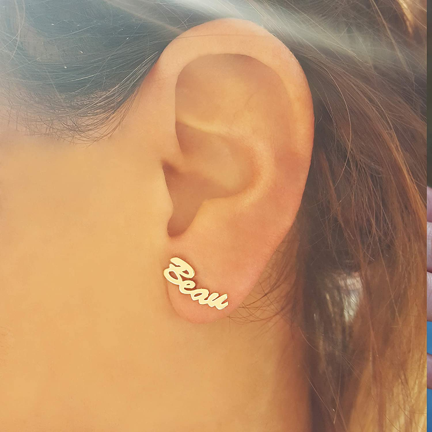 Order Your Initials Personalized Stud Earrings 10K Yellow Gold 14K or 18K Solid Gold Single Initial Earrings Rose Gold White Gold