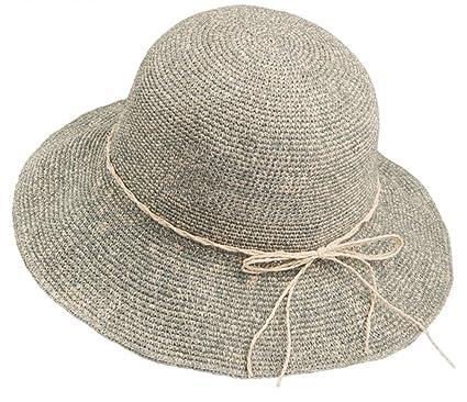 hat Sombrero Sombrero de Paja Tejido a Mano Sombrero de Sol Femenino de  Playa de Verano 7357cdf4eb7b