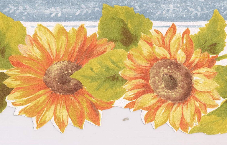 Amazon Com Prepasted Wallpaper Border Orange Yellow Sunflowers