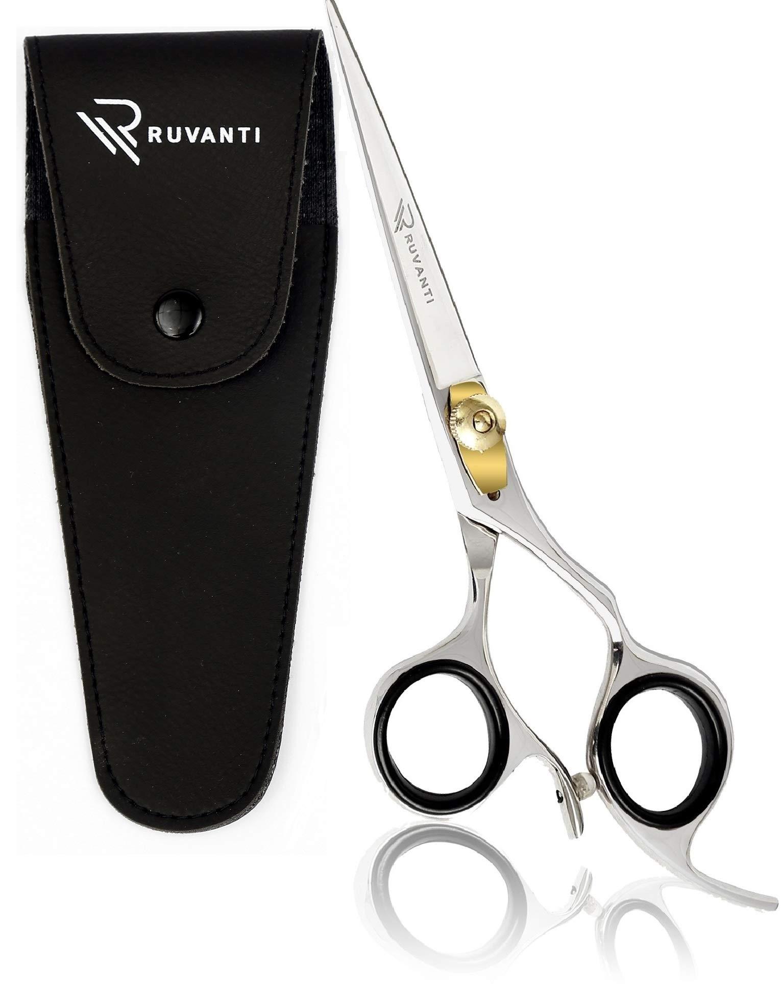 Ruvanti Professional Razor Blades Hair Scissors - Barber Hair Cutting Scissor - 6.5'' Japanese Super Cobalt Stainless Steel Hair Shear - Hairdresser Scissor/Barber Shears with Golden Adjustment Screw by Ruvanti