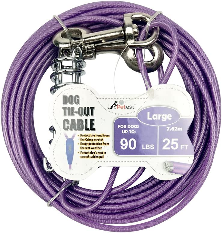Petest Tie-Out Cable with Crimp Cover for Dogs Up to 35/60/90/125/250 Pounds, 15ft 25ft 30ft Length Available