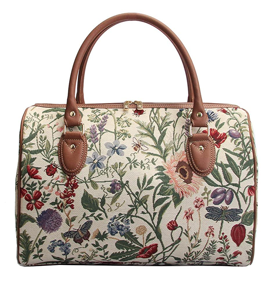Ladies Garden Flower Travel Duffel Weekender Bag Hand Luggage Overnight Bag by Signare with Sunflower Poppy Butterfly Dragonfly TRAV-MGD