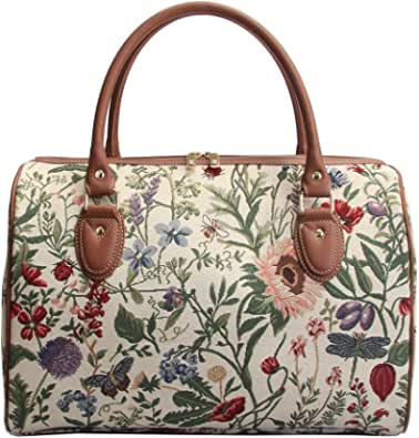 Ladies Garden Flower Travel Duffel Weekender Bag Hand Luggage Overnight Bag by Signare with Sunflower Poppy Butterfly Dragonfly (TRAV-MGD)