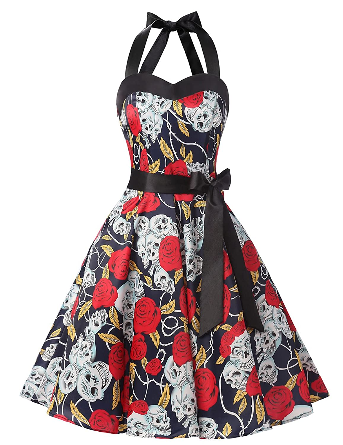 Dresstells Halter 1950s Rockabilly Polka Dots Audrey Dress Retro Cocktail Dress