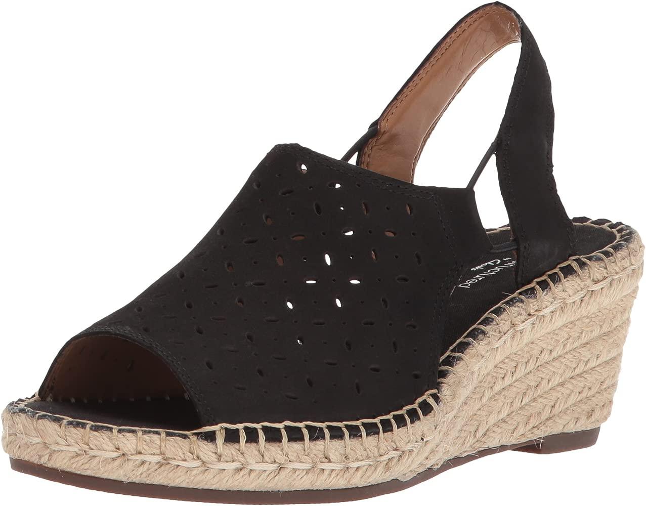 Ladies Clarks Petrina Gail Slingback Leather Wedge Heel Sandals