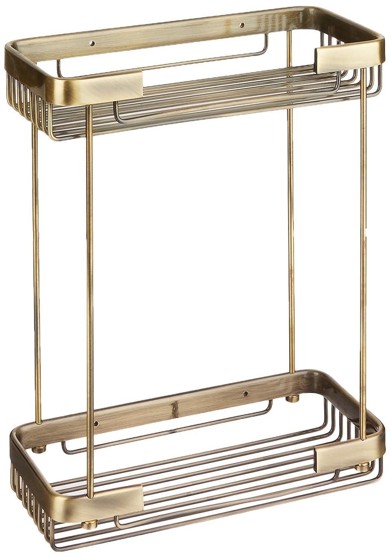 Antique Brass Allied Brass BSK-60DR-SN Double Tier Rectangular Toiletry Shower Basket, Satin Nickel