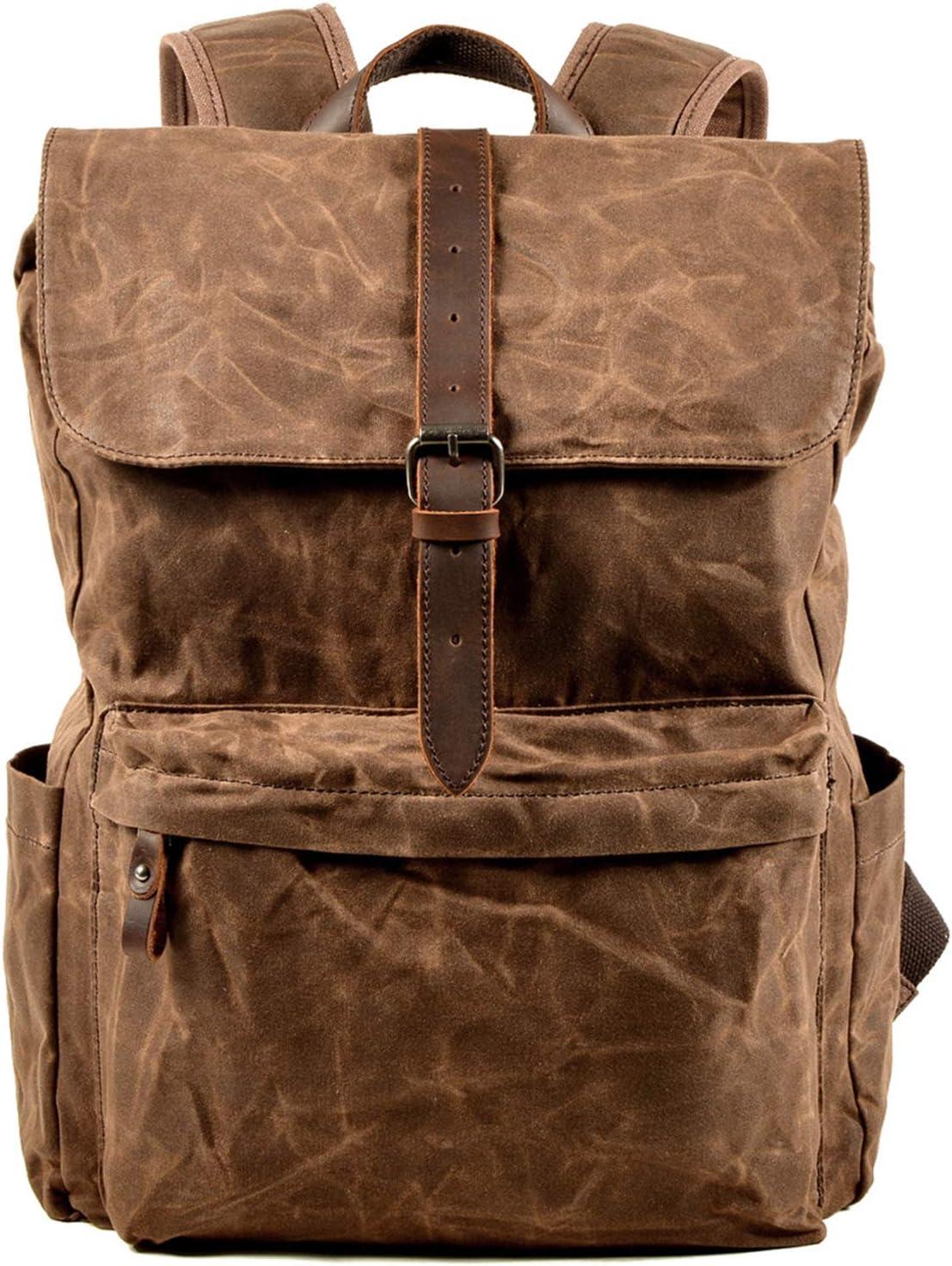 D1080 Black IBLUE Men Travel Canvas Backpack Women Laptop School Bag Heavy Duty Shoulder Rucksack for Hiking Camping