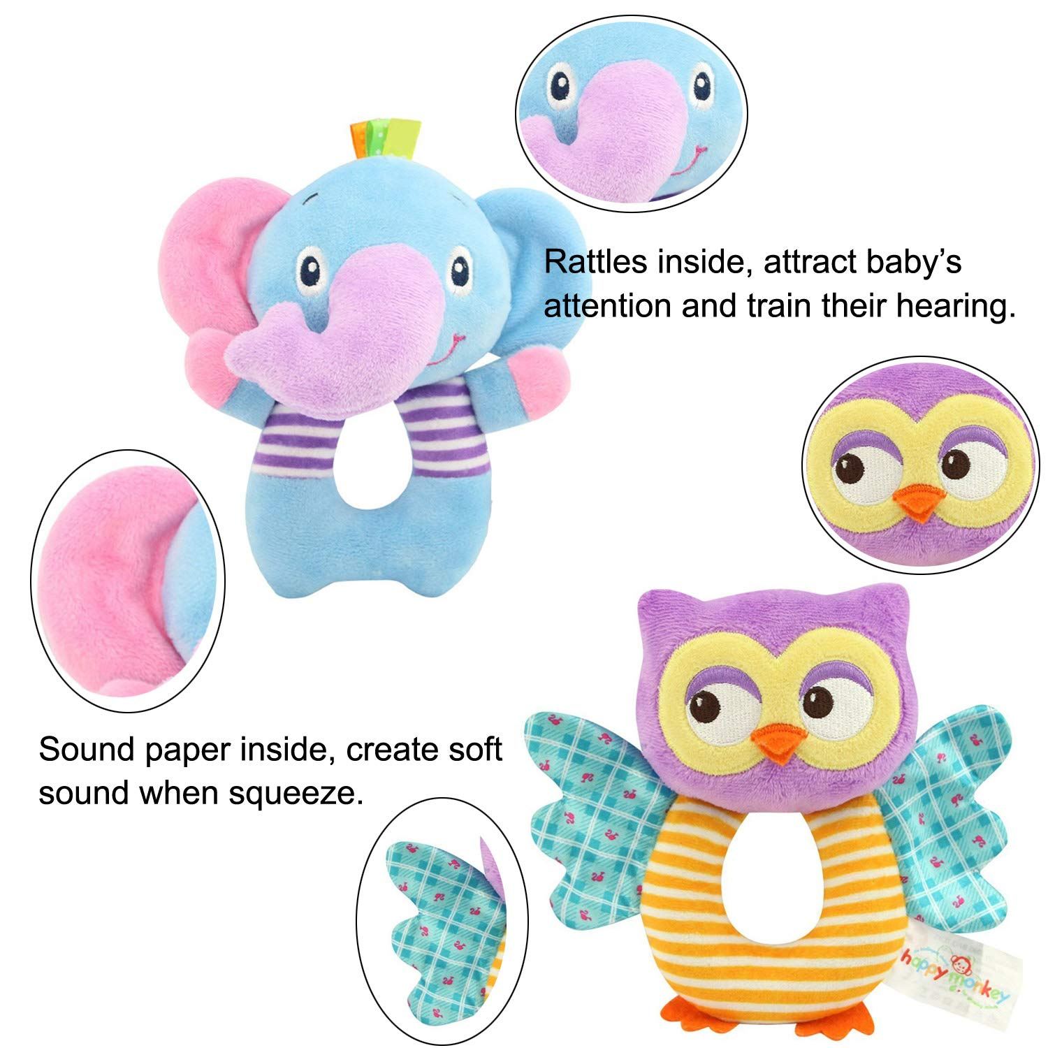ORZIZRO Hand Grasp Owl and Elephant Soft Rattle Toys for Newborn Infant 0-36 Months Cute and Safe Plush Rattle Toys for Baby Boys /& Girls