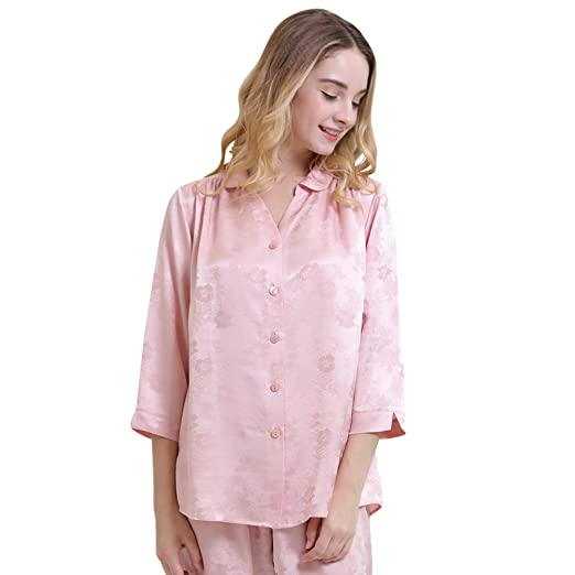 1f31fa3baf Image Unavailable. Image not available for. Color  Chesslyre Luxury  Charmeuse Jacquard Silk Satin Pajamas Women Nightwear 2 Piece Sets