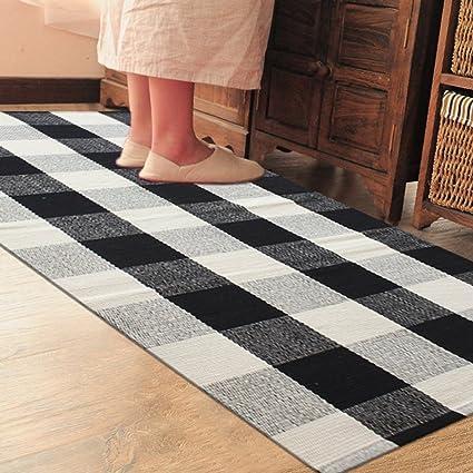 Buy Black And White Pragoo Cotton Rug Hand Woven Checkered