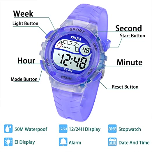 Reloj Digital para Niña Niño,Chicos Chicas 50M(5ATM) Impermeable Deportes LED al