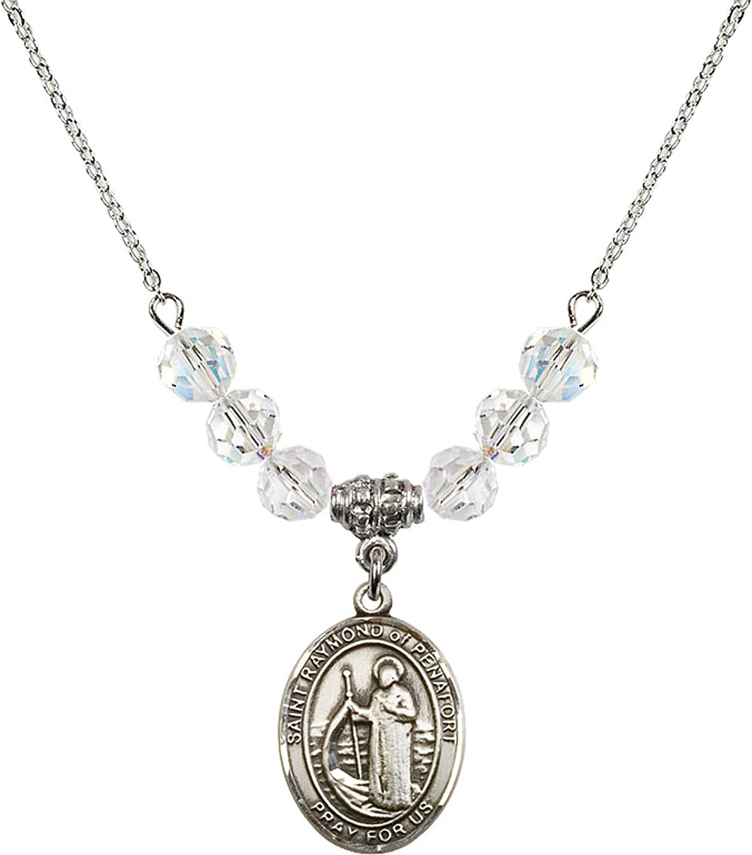 Bonyak Jewelry 18 Inch Rhodium Plated Necklace w// 6mm White April Birth Month Stone Beads and Saint Raymond of Penafort Charm